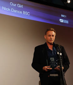 Nick receiving GTC Award for Our Girl.